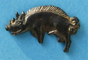 Gilt silver boar badge worn by Richard III knight